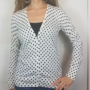 Old navy white black polka dot sweater cardigan